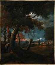 Marco RICCI - Painting - Paesaggio con figure