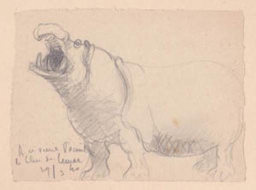 Marcel LEMAR - Zeichnung Aquarell - Hippopotame