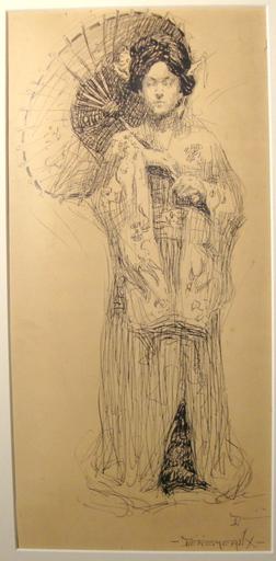 Irma DEREMEAUX - Disegno Acquarello - Woman in a Kimono