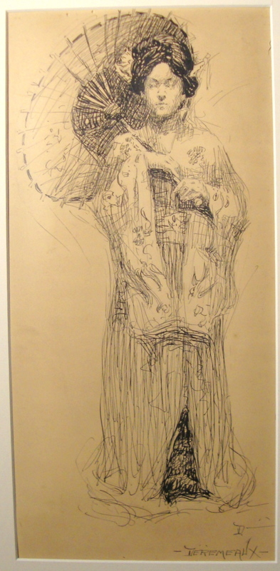 Irma DEREMEAUX - Drawing-Watercolor - Woman in a Kimono