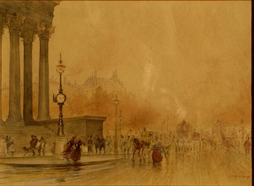 Francis GARAT - Drawing-Watercolor - VUE DE PARIS EN 1900