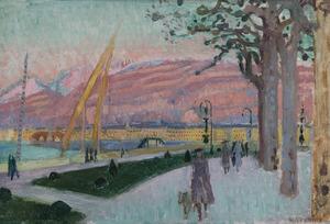Maurice DENIS - Pittura - Vue de Genève depuis le quai du Mont Blanc