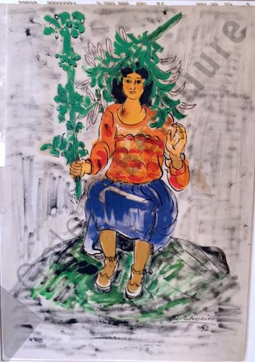 Benjamín PALENCIA PEREZ - Peinture - Muchacha con rama en la cabeza
