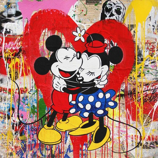 MR BRAINWASH - Dibujo Acuarela - Mickey & Minnie, 2017