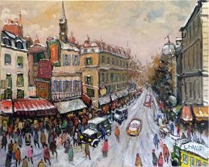 Charles MALLE - Peinture - Paris, boulevard du Palais