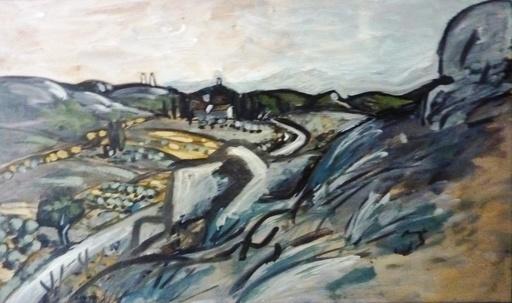Auguste CHABAUD - Peinture - Le mas de Chausse dans la montagnette