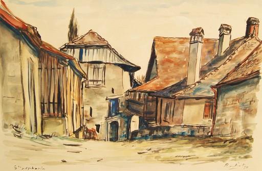 Willy James ROCHAT - Dibujo Acuarela - Saint Saphorin. Maisons de village Suisse