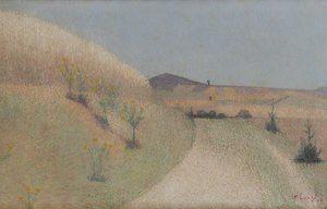 Achille LAUGÉ - Pintura - Le chemin bordé de chardons