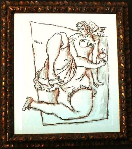 Théo TOBIASSE - Painting - Apple nude Lady