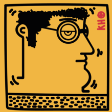 IABO - Painting - Untitled-Keith Haring Tribute (Yellow version)