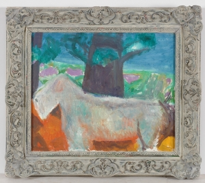 """Frederick SERGER - Painting - """"Our Terrier"""", ca. 1950, Oil"""