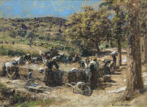 Léon Augustin LHERMITTE - Dibujo Acuarela - Lavandieres en Provence