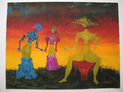 Lucien COUTAUD - Disegno Acquarello - Fin d'aprés-midi,1975
