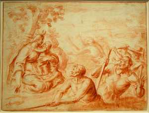 Giovanni BILIVERTI - Drawing-Watercolor - Latona Turning the Lycian Peasants into Frogs