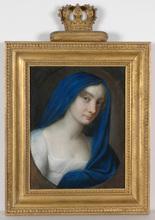 """Johann Heinrich SCHRÖDER - Miniature - """"Duchess of Brunswyck"""" important pastel portrait, ca. 1805"""