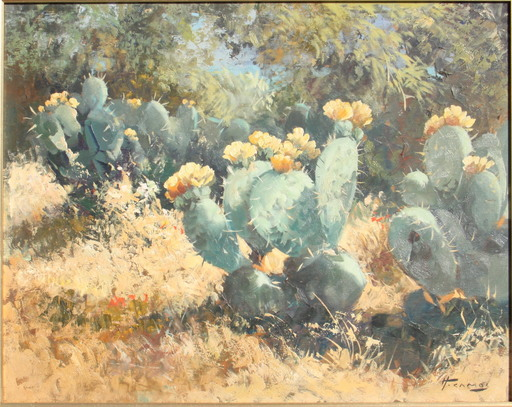 Honoré CAMOS - Painting - LES CACTUS