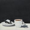 "Nataliya BAGATSKAYA - Painting - ""Just Thanks!.."" hyperrealistic white cup with coffee"