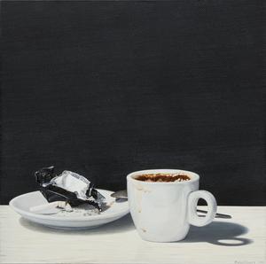 "Nataliya BAGATSKAYA - Pintura - ""Just Thanks!.."" hyperrealistic white cup with coffee"