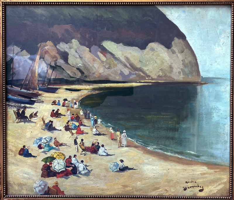 Andre DEVAMBEZ - Painting - La plage d'Yport