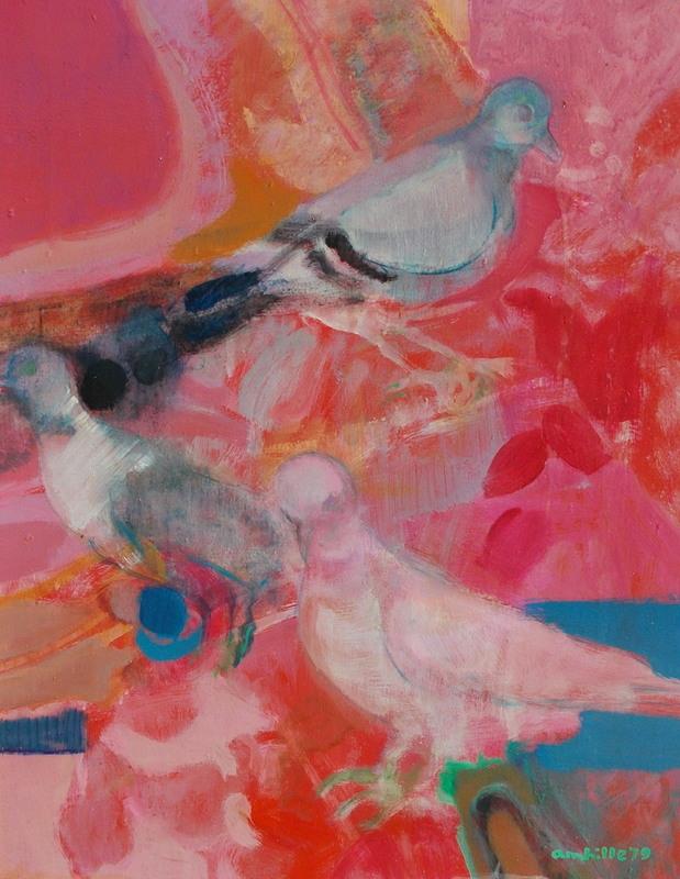 Paul AMBILLE - Peinture - Les 3 pigeons