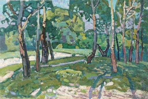 """Victor GAIDUK - Peinture - """"Grove"""", Oil Painting, 1970's"""