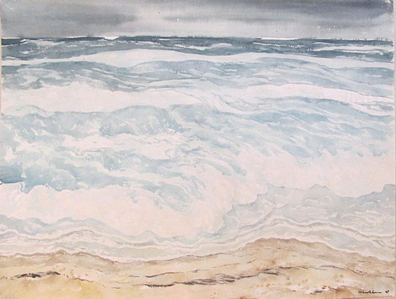 Paul MECHLEN - Drawing-Watercolor - Brandungswogen am Strand (Sylt)