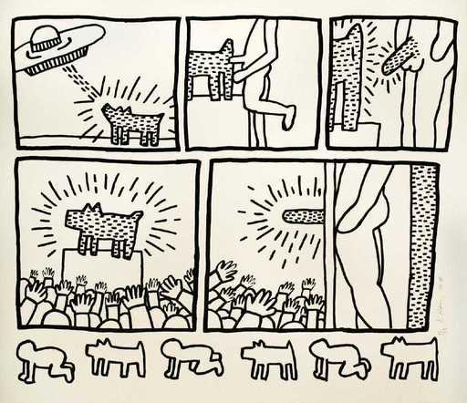 Keith HARING - Print-Multiple - Blueprint drawing #13