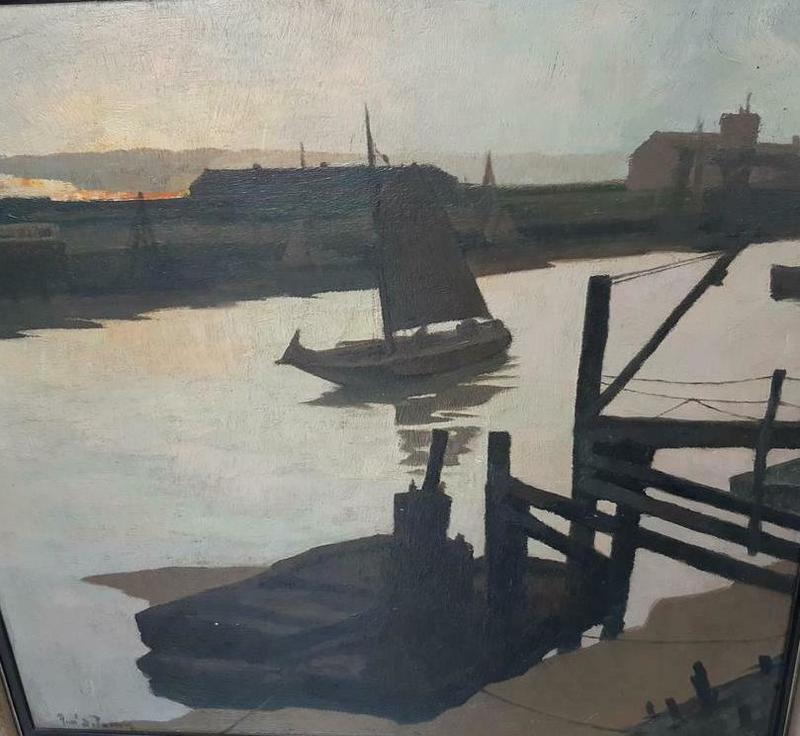 René DE LANNOY - Pintura - Binnenlopend schip