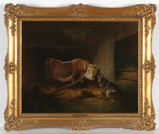 "Rudolf SWOBODA - Gemälde - ""Bull and He-Goat in Cowshead"", Oil Painting"