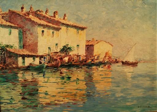 François Joseph VERNAY - 绘画 - Maisons et barques de pêcheurs aux Martigues