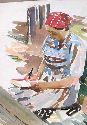 Erich HARTMANN - Dessin-Aquarelle - #19947: Frau mit rotem Kopftuch.