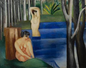 Moïse KISLING - Painting - Les deux baigneuses