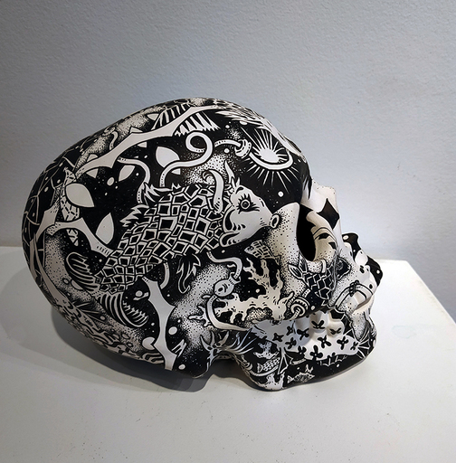 Claire FANJUL - Zeichnung Aquarell - Crâne au poisson camouflage