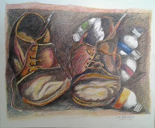 Romeo MESISCA - Disegno Acquarello - Le scarpe del pittore