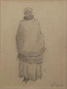 Louis HAYET - Dibujo Acuarela - Femme de Dos
