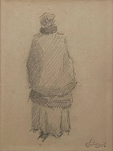 Louis HAYET - Zeichnung Aquarell - Femme de Dos