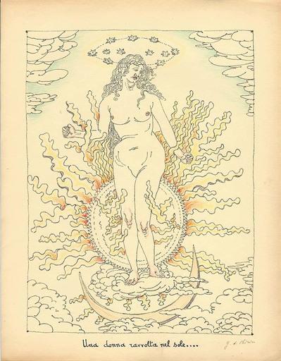 乔治•德•基里科 - 版画 - Una donna ravvolta nel sole,1941