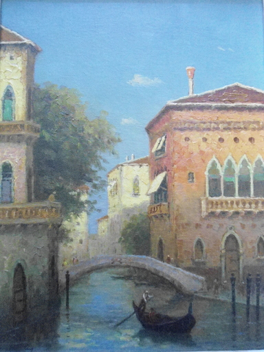 Adrian DINGLE - Painting - Gondolier à Venise