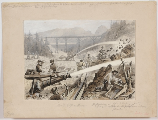 "Louis MORIN - Drawing-Watercolor - ""Gold Diggers in California"", 19th/20th Century"