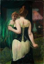 Pierre CARRIER-BELLEUSE - Dessin-Aquarelle - Jeune Femme Ajustant son Corset
