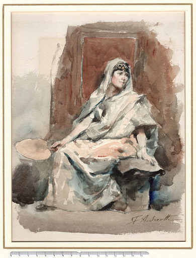 Federico ANDREOTTI - Dibujo Acuarela - SITTING YOUNG WOMAN, IN ORIENTAL CLOTHES