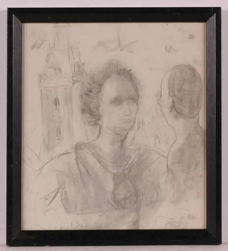 "Frederick SERGER - Disegno Acquarello - ""Talking about Native Town"", 1940's"