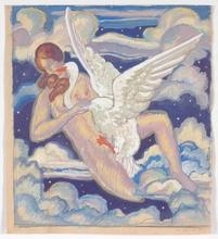 """Josef LACINA - Drawing-Watercolor - """"Leda and Swan"""" 1923, watercolor"""