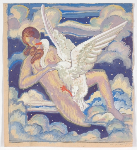 "Josef LACINA - Dibujo Acuarela - ""Leda and Swan"" 1923, watercolor"
