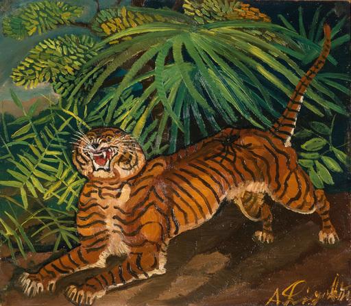 Antonio LIGABUE - Painting - Tigre nella foresta