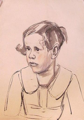 Erich HARTMANN - Disegno Acquarello - #19914: Junges Mädchen im Halbprofil