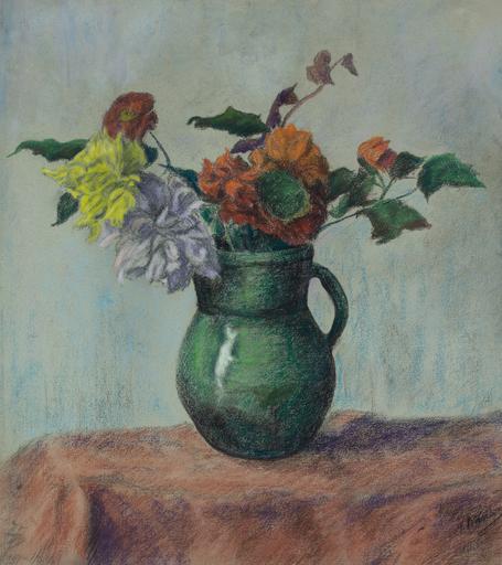 Paul Élie RANSON - Zeichnung Aquarell - Vase de Fleurs