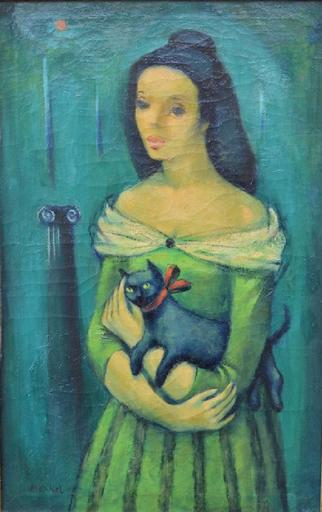 Georg MERKEL - Painting - Woman with a cat