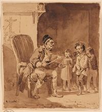 "Nicolas-Toussaint CHARLET - Dibujo Acuarela - ""Village School"", Drawing"