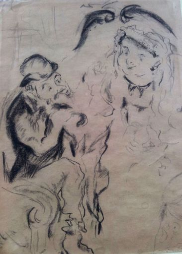 Issachar Ber RYBACK - Drawing-Watercolor - Jewish Couple